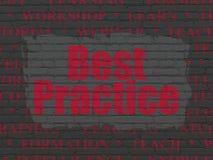 Studio del concetto: Best practice sul fondo della parete Fotografia Stock