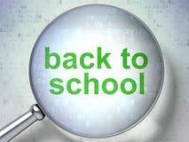 Studio del concetto: Di nuovo alla scuola con vetro ottico Fotografia Stock Libera da Diritti