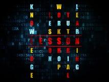 Studio del concetto: lezione di parola nella soluzione delle parole incrociate Fotografia Stock