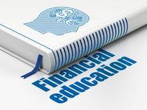 Studio del concetto: prenoti la testa con il simbolo di finanza, istruzione finanziaria su fondo bianco Immagini Stock