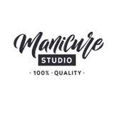 Studio del manicure Chiodo Logo Beauty Vector Lettering matrice Calligrafia fatta a mano su ordinazione illustation di vettore Fotografia Stock Libera da Diritti
