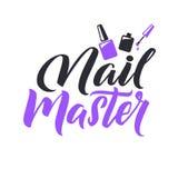 Studio del manicure Chiodo Logo Beauty Vector Lettering matrice Calligrafia fatta a mano su ordinazione illustation di vettore Immagini Stock Libere da Diritti