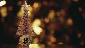 Studio del metraggio del hd del bokeh dell'oro dell'albero di abete della moneta di Bitcoin stock footage