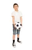 Studio del ragazzo di calcio isolato Fotografia Stock