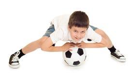 Studio del ragazzo di calcio isolato Fotografie Stock Libere da Diritti