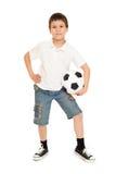 Studio del ragazzo di calcio isolato Immagini Stock