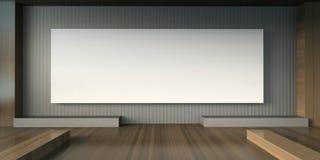 Studio della galleria di arti e sedia minima di mostra e cornici bianche Fotografia Stock Libera da Diritti