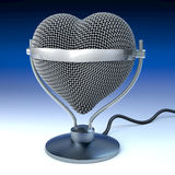 Studio desk microphone in heart shape. In front of dark blue background,  3d rendering Royalty Free Stock Photos