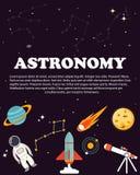 Studio di astronomia Concetti della disposizione di scienza e di istruzione Stile moderno piano Fotografia Stock Libera da Diritti