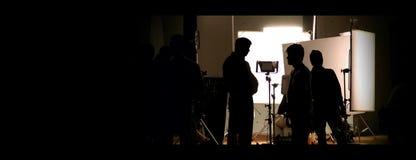 Studio di fucilazione dietro le scene nelle immagini della siluetta immagine stock libera da diritti