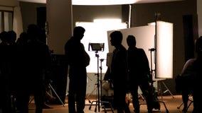 Studio di fucilazione dietro le scene nelle immagini della siluetta immagine stock