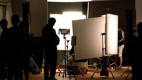Studio di fucilazione dietro le scene nelle immagini della siluetta immagini stock