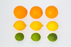 3 sinaasappelen 3 Citroenen 3 Vruchten van de Kalk Royalty-vrije Stock Foto's