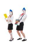 Studio die van grappige actoren met boeken is ontsproten Royalty-vrije Stock Afbeeldingen