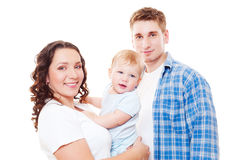 Studio die van jonge familie samen is ontsproten Royalty-vrije Stock Afbeeldingen