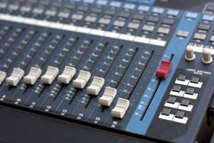 Studio Digital Music Mixer. Sound mixer, closeup of the knobs Royalty Free Stock Image
