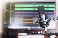 Studio domestico di podcast fotografia stock libera da diritti