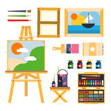 Studio drawing tools to the creative process flat Stock Photo