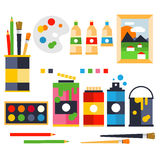 Studio drawing tools to the creative process flat Royalty Free Stock Image