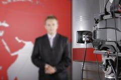 Studio e fine della TV in su della videocamera Fotografia Stock Libera da Diritti