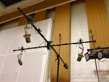 Studio Equipment; Abbey Road Studios, London. Omnidirectional miking with vintage Microphones; Studio 2, Abbey Road Studios royalty free stock photo