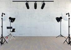 Studio equipment in studio room with empty space vector illustration
