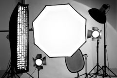 Studio equipment tools. Reflector, soft box, octobox for shooting royalty free stock photos