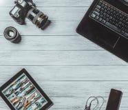 Studio för kamerafotografidesign som redigerar begrepp Arkivbilder