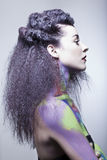 studio för målarfärg för huvuddelbrunettmodell Royaltyfria Foton