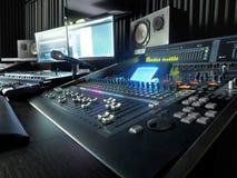 Studio för solid inspelning med musikinspelningutrustning arkivbilder