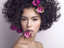 Beautiful young woman with flowers in her hair. Studio fashion photo of beautiful young woman with flowers in her mouth and hair.  Valentines day. Spring blossom Royalty Free Stock Image