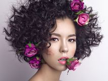 Beautiful young woman with flowers in her hair. Studio fashion photo of beautiful young woman with flowers in her mouth and hair.  Valentines day. Spring blossom Stock Photos