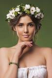 Studio fashion portrait of one beautiful woman Royalty Free Stock Photo