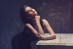 Studio fashion portrait of young sexy woman Royalty Free Stock Photos