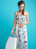 Studio, fashion portrait, young woman shopping Royalty Free Stock Photo