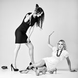 Studio fashion shot: battle of two beautiful women (blonde and brunette) Stock Photography