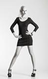 Studio fashion shot: beautiful woman in black dress. Black and white Stock Image