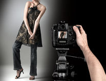 Studio fashion shot with a model. Stock Image