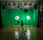 Studio for filming on a green background. The chroma key. Lighting equipment in the Studio. Green screen.  royalty free stock image