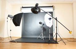 Studio flash. On grey background Stock Image