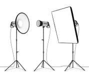 Studio flash. On white background Royalty Free Stock Photos