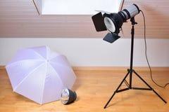 Studio flash and light modifiers Stock Photos