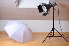 Studio flash and light modifiers Royalty Free Stock Image
