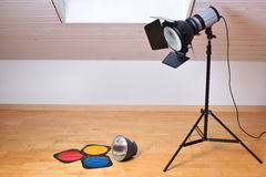Studio flash and light modifiers Stock Images