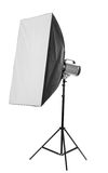 Studio flash with soft-box Stock Images