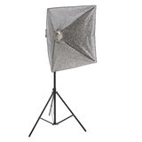 Studio flash on a stand over isolated white background Stock Photos