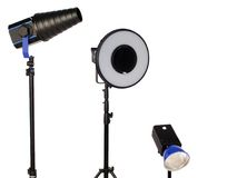 Studio flash on tripod Stock Photo