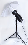 Studio Flash With Umbrella Stock Photos
