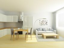Studio flat kitchen and sitting room in light gray and white colors. Scandinavian Style. Stock Images