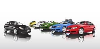 Studio Geschotene Vector van Groep Multi-Colored Auto's op een rij Stock Afbeelding